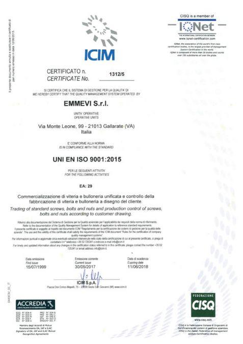 EMMEVI Srl - Vendita e commercializzazione viteria e bulloneria unificata, particolari meccanici a disegno per qualsiasi esigenza - ICIM