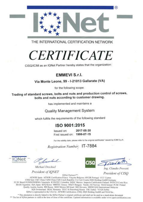 EMMEVI Srl - Vendita e commercializzazione viteria e bulloneria unificata, particolari meccanici a disegno per qualsiasi esigenza - IQNET